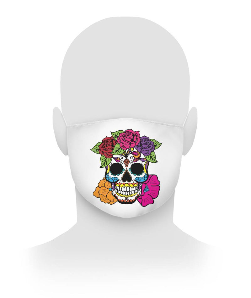 Women's Skull Mask With Red, Pink, Orange, and Purple Flowers Cloth Face Mask - SugarSkulls.io