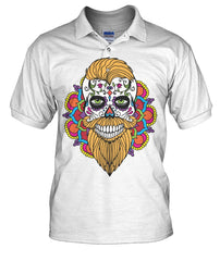 Male Skull Shirt With Orange Hair and Mandala Backround - Men's Polo - SugarSkulls.io