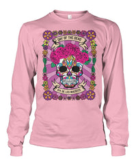 Dia De Los Muertos FULL Banner Female Sugar Skull Unisex Long Sleeve - SugarSkulls.io