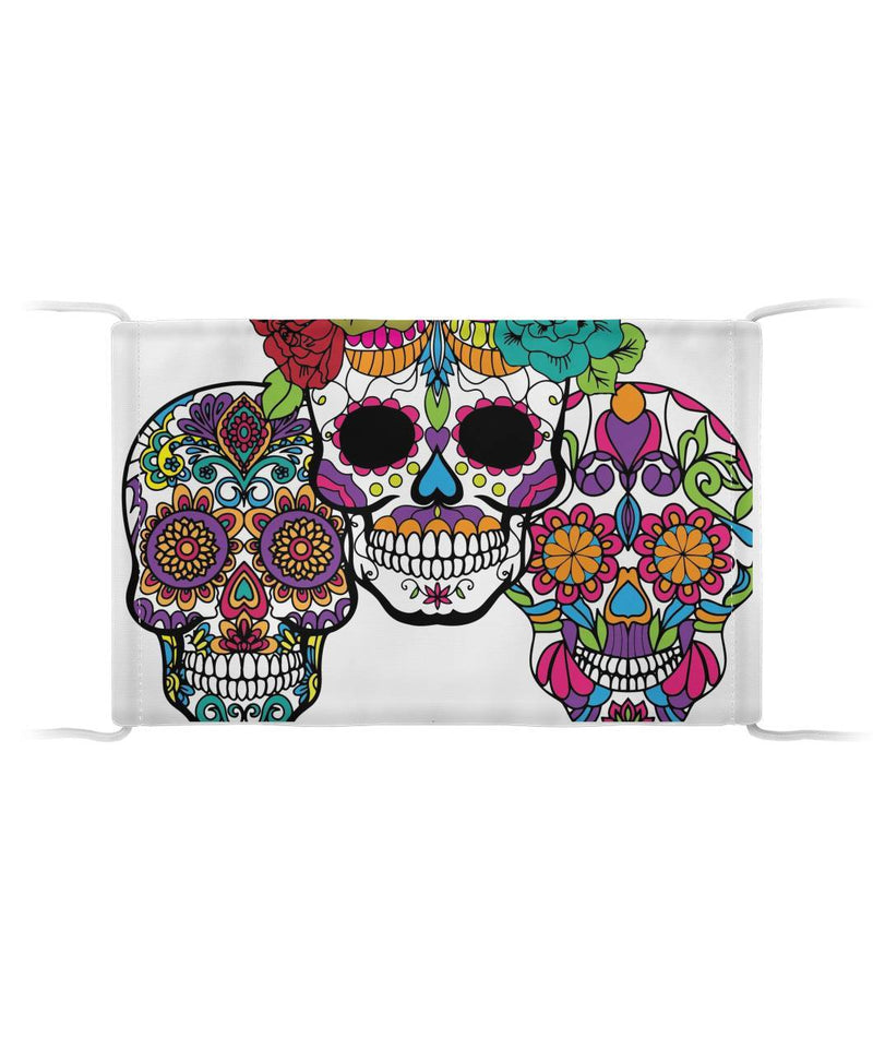 3 Skulls Sugar Skull Mask Cloth Face Mask - SugarSkulls.io