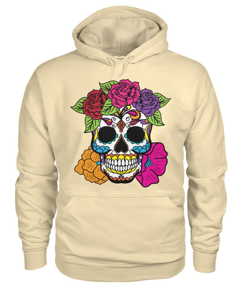 Female Skull Hoodie With Red, Pink, Orange, And Purple Flowers - - SugarSkulls.io