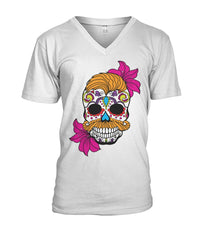 Male Skull Shirt With Orange Hair and Deep Pink Flowers Mens V-Neck - SugarSkulls.io