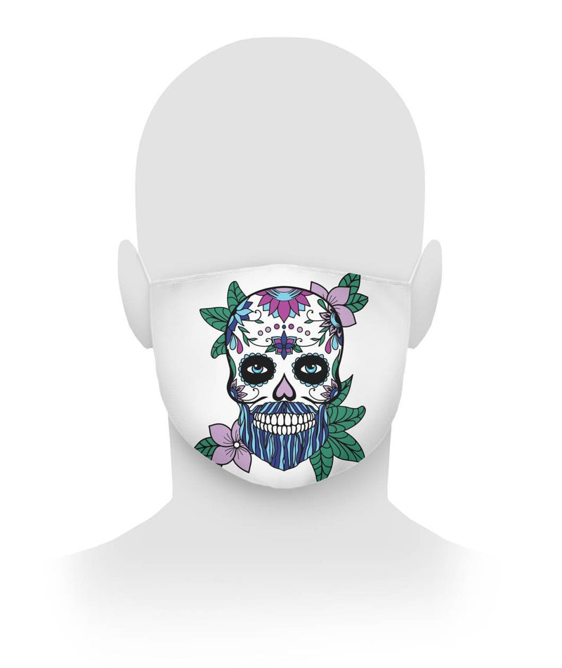 Male Sugar Skull (Blue Hair) With Flowers Cloth Face Mask - SugarSkulls.io