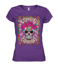 Dia De Los Muertos FULL Banner Female Sugar Skull Women's V-Neck - SugarSkulls.io