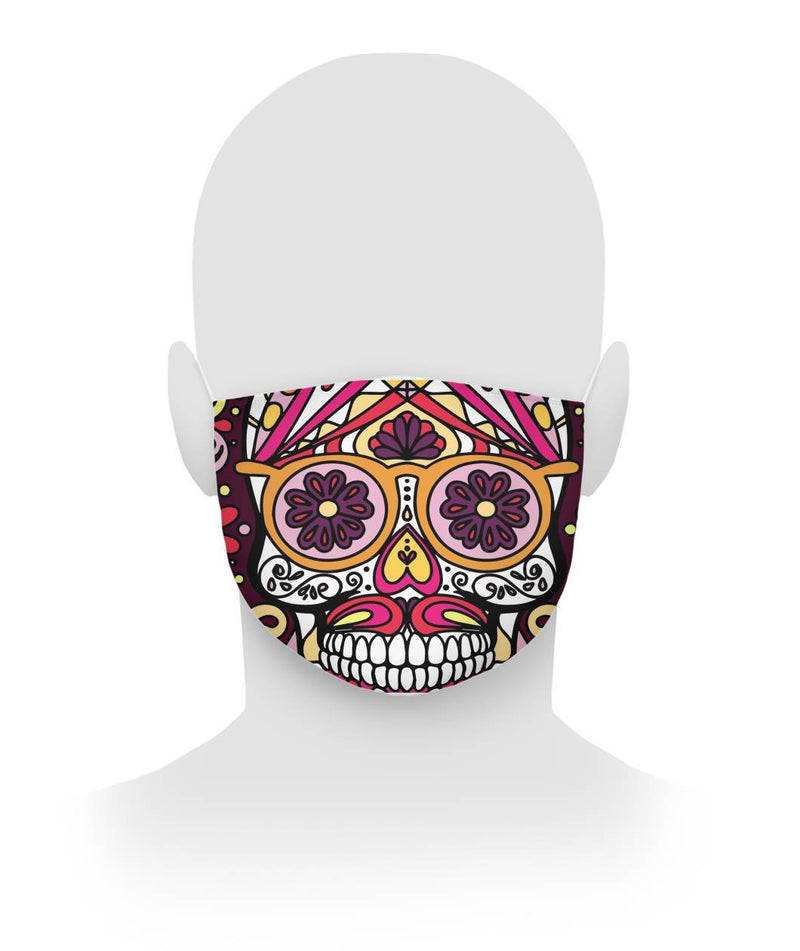 Full Sugar Skull Crazy Glasses Cloth Face Mask - SugarSkulls.io