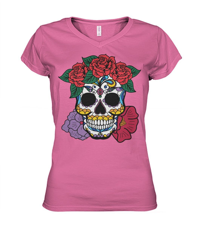 Women's Skull Shirt With Red and Purple Flowers - Women's V-Neck - SugarSkulls.io