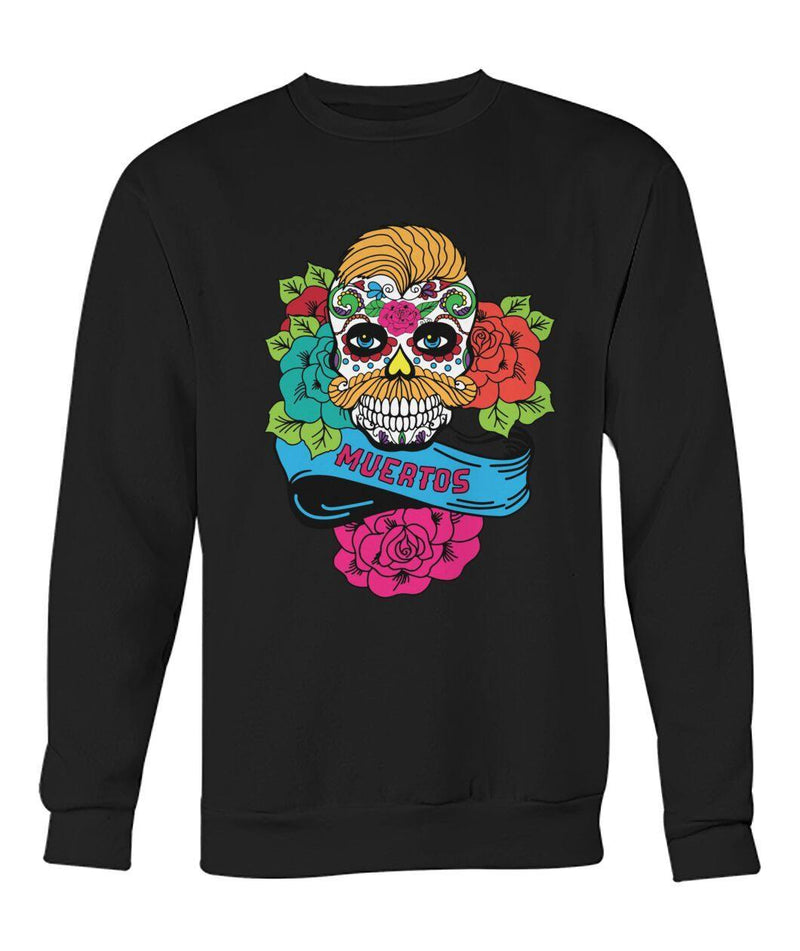 Dia De Los Muertos Banner Male Sugar Skull (Orange Hair) Crew Neck Sweatshirt - SugarSkulls.io