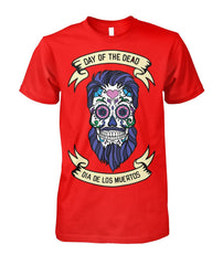 Dia De Los Muertos Banner Male Sugar Skull (Blue Hair) Unisex Cotton Tee - SugarSkulls.io
