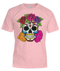 Female Skull Shirt With Red, Pink, Orange, And Purple Flowers -  Bella Canvas Tee - SugarSkulls.io