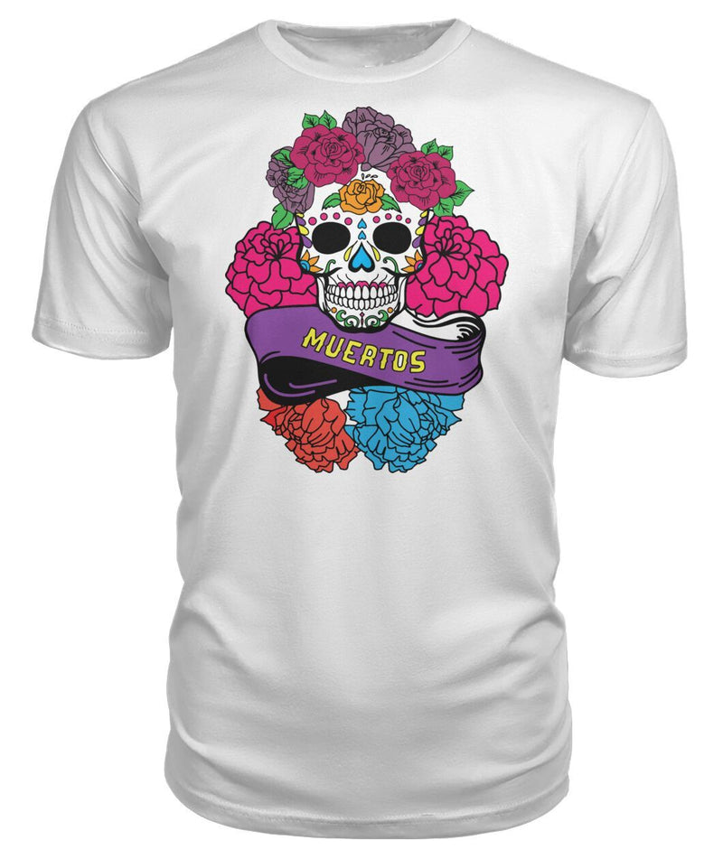 "Day of The Dead (Dia De Los Muertos) Sugar Skull With ""Muertos"" Banner Premium Unisex Tee - SugarSkulls.io"