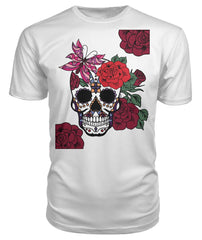 Women's Skull Shirt With Butterfly and Rose -  Premium Unisex Tee - SugarSkulls.io