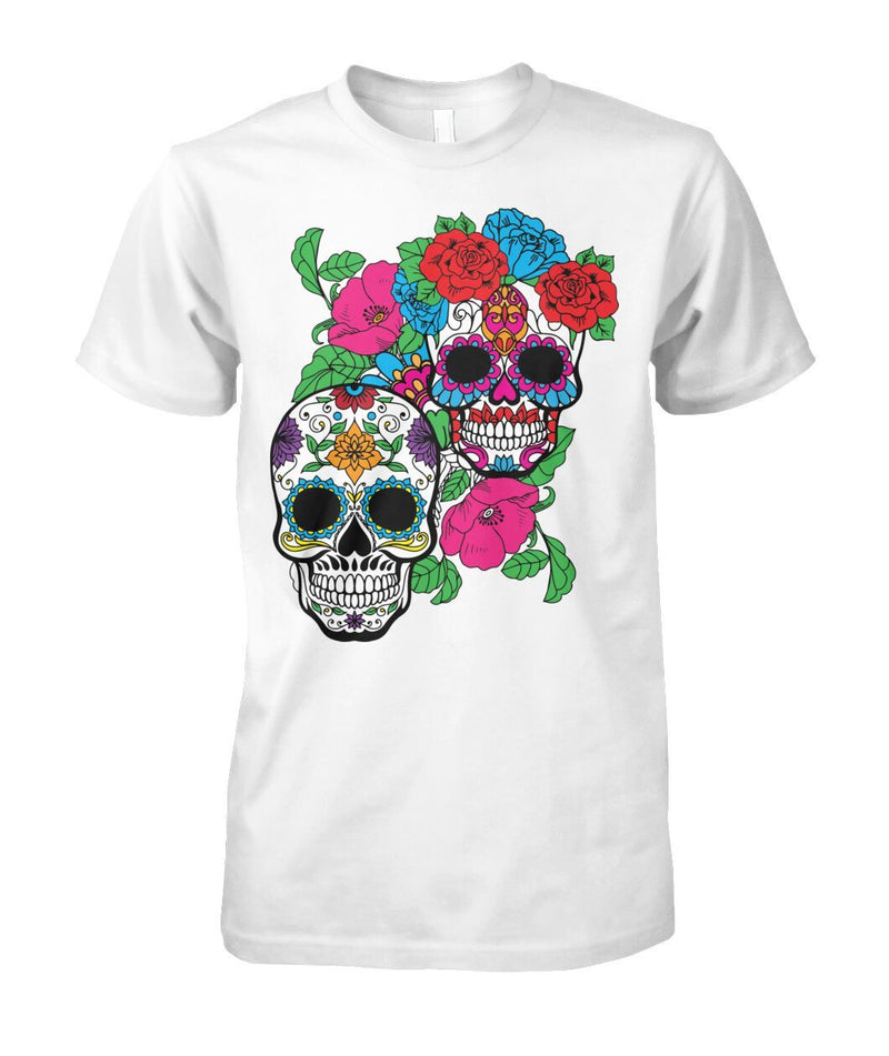 Day of The Dead (Dia De Los Muertos) With Fun Sugar Skull Unisex Cotton Tee - SugarSkulls.io