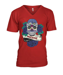Dia De Los Muertos Banner Male Sugar Skull (Blue Hair) Mens V-Neck - SugarSkulls.io