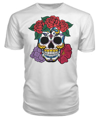 Women's Skull Shirt With Red and Purple Flowers Premium Unisex Tee - SugarSkulls.io