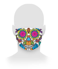 Sugar Skull Mask With LArge Flower Eyes Cloth Face Mask - SugarSkulls.io