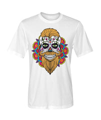 Male Skull Shirt With Orange Hair and Mandala Backround - Dry Sport Tee - SugarSkulls.io