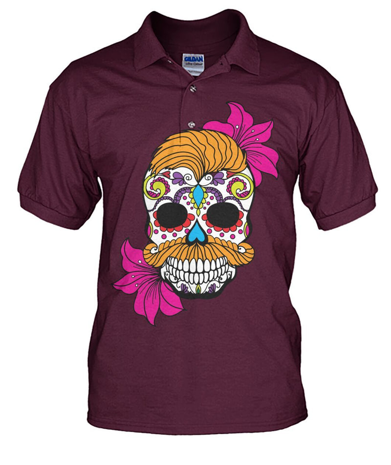 Male Skull Shirt With Orange Hair and Deep Pink Flowers Men's Polo - SugarSkulls.io