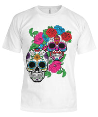 Day of The Dead (Dia De Los Muertos) With Fun Sugar Skull Bella Canvas Tee - SugarSkulls.io