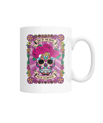 Female Skull Mug - Day Of The Dead - Full Pink Backround - SugarSkulls.io