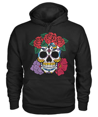 Women's Skull Hoodie With Red and Purple Flowers - - SugarSkulls.io