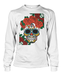 Women's Skull Sweatshirt With Vibrant Rose Crown - SugarSkulls.io