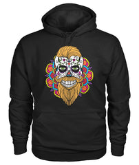 Male Skull Hoodie With Orange Hair and Mandala Backround - - SugarSkulls.io