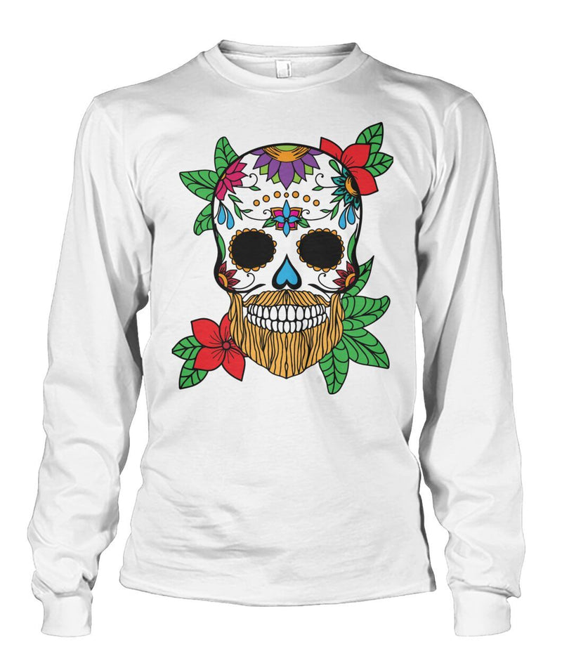 Male Sweatshirt With Orange Hair and Sunset Orange Flowers - SugarSkulls.io
