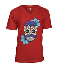 Male Skull Shirt With Blue Hair and Blue Flowers Mens V-Neck - SugarSkulls.io