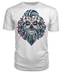 Male Skull Shirt With Blue Hair and Mandala Backround -  Premium Unisex Tee - SugarSkulls.io