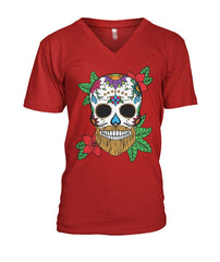 Male Skull Shirt With Orange Hair and Sunset Orange Flowers - Mens V-Neck - SugarSkulls.io