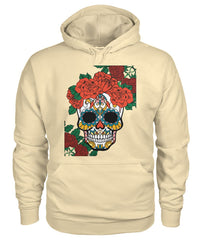 Women's Skull Hoodie With Vibrant Rose Crown - - SugarSkulls.io