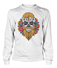 Male Skull Sweatshirt With Orange Hair and Mandala Backround - SugarSkulls.io