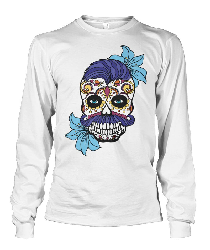 Male Skull Sweatshirt With Blue Hair and Blue Flowers - - SugarSkulls.io