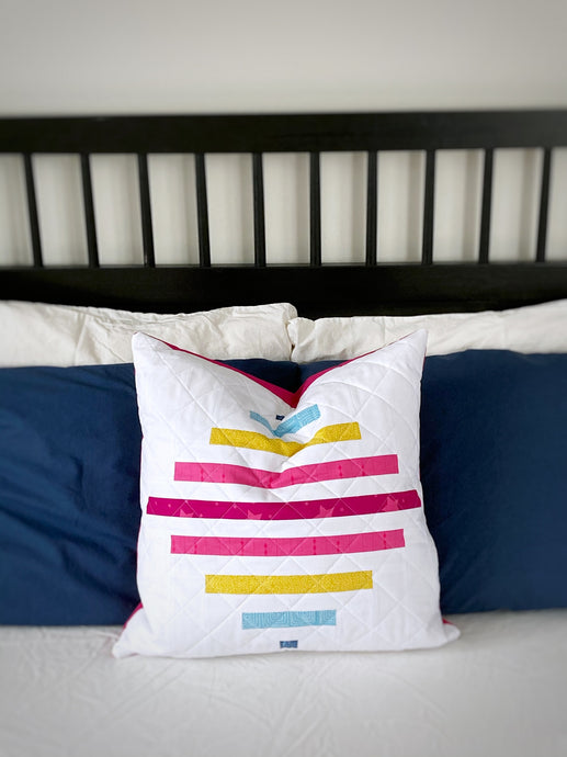 Spinning Top Pillow + 8 tips for accurate strip piecing