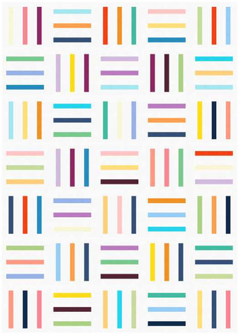 Bar Code quilt pattern by Penny Spool Quilts - mockup in scrappy on white