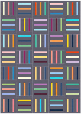 Bar Code quilt pattern by Penny Spool Quilts - mockup in scrappy on charcoal