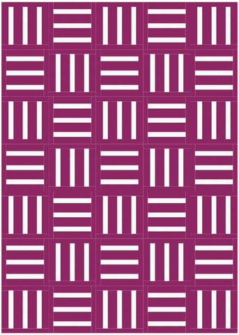 Bar Code quilt pattern by Penny Spool Quilts - mockup in white on berry