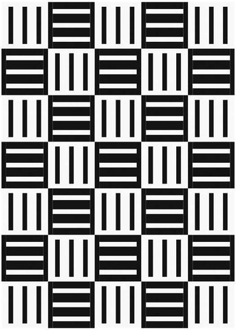 Bar Code quilt pattern by penny spool quilts - mockup in black and white with alternating blocks