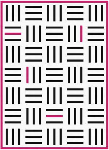 Bar Code quilt pattern by Penny Spool Quilts - mockup in black on white with pink binding