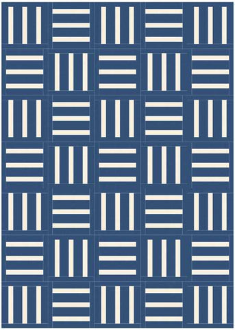 Bar Code quilt pattern by Penny Spool Quilts - mockup in white on navy