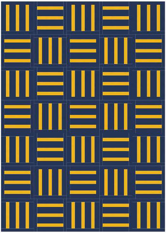 Bar Code quilt pattern by Penny Spool Quilts - mockup in yellow on navy