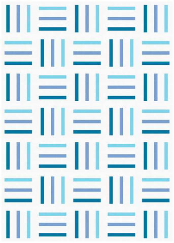 Bar Code quilt pattern by Penny Spool Quilts - mockup in blue ombre on white