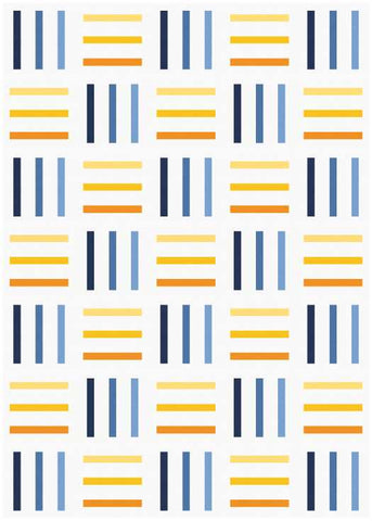 Bar Code quilt pattern by Penny Spool Quilts - mockup in blue and yellow on white