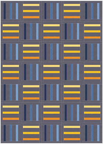 Bar Code quilt pattern by Penny Spool Quilts - mockup in blue and yellow on charcoal