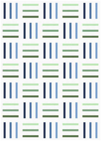 Bar Code quilt pattern by Penny Spool Quilts - mockup in green and blue on white