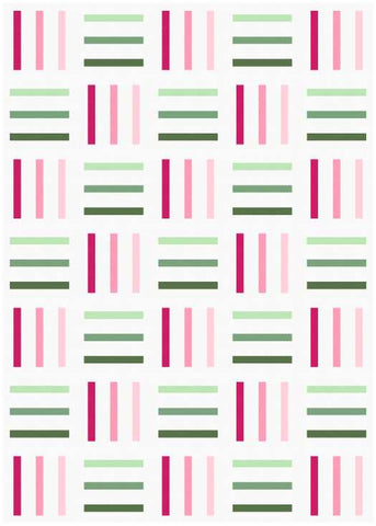 Bar Code quilt pattern by Penny Spool Quilts - mockup in pink and green on white background