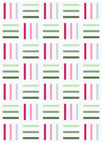 Bar Code quilt pattern by Penny Spool Quilts - mockup in pink, green and blue on white
