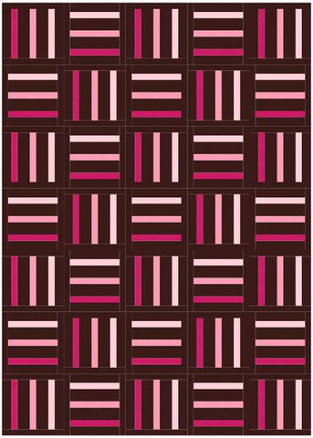 Bar Code quilt pattern by Penny Spool Quilts - mockup in pink ombre on chocolate