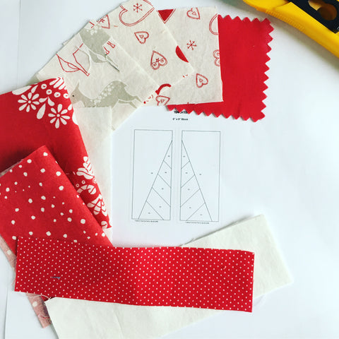 Fabric Selection for Festive Forest by Penny Spool Quilts - Christmas Tree Ornament Tutorial