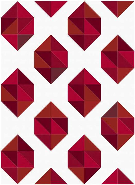 Facets modern HST quilt pattern, ruby birthstone fabric kit